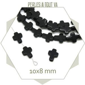 perles croix howlite noir