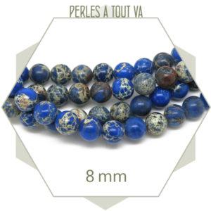 perles en régalite bleu