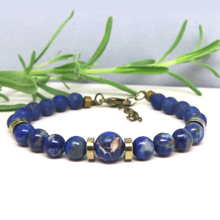 Réaliser un bracelet en pierres naturelle lapis lazuli