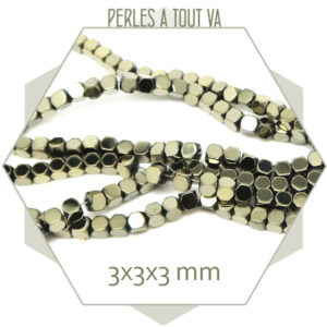 perles cubes en hématite