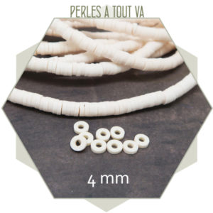 Perles rondelles heishi ivoire