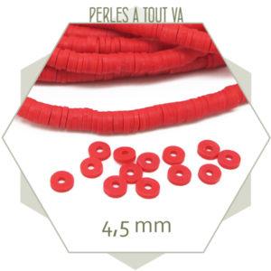 Perles rondelles heishi corail