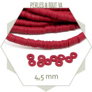 Perles heishi rouge foncé