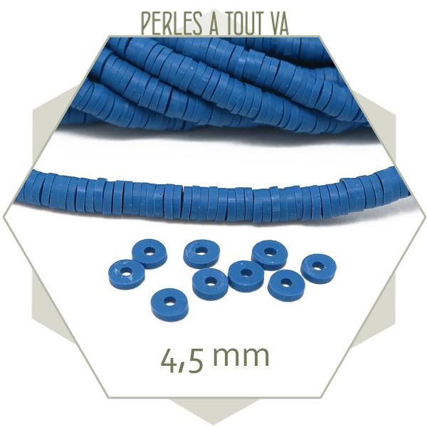 Perles rondelles heishi bleu
