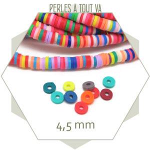 Perles rondelles Heishi multicolore