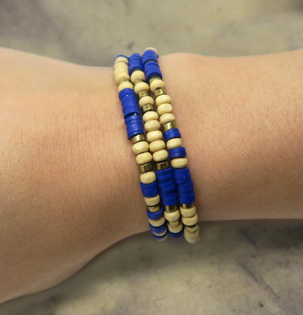 bracelet perles bois hématite heishi