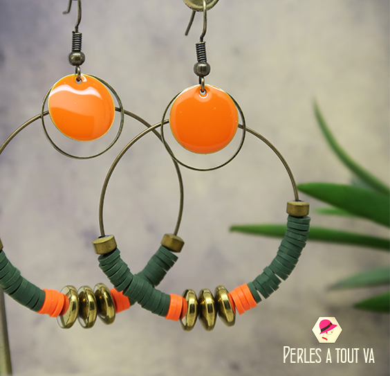 Creation bijoux perles heishi orange