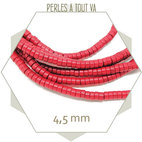 perle heishi en pierre rouge