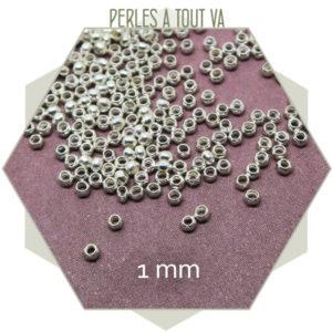 petites perles à écraser argenté
