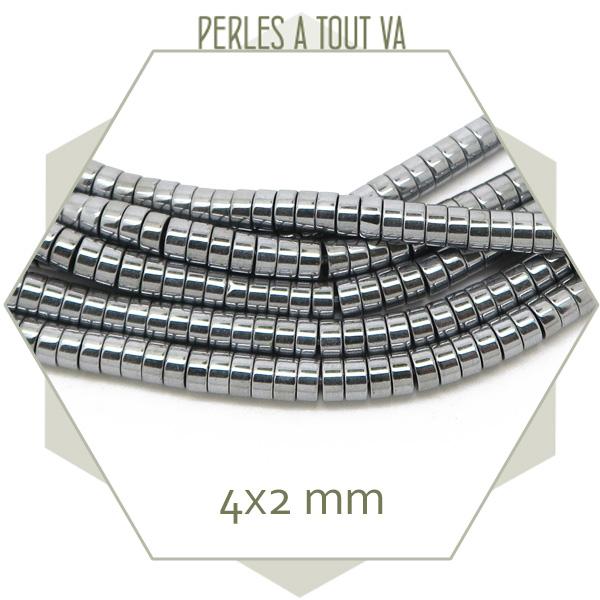 perles heishi hématite argenté