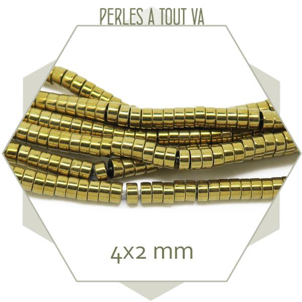 perles heishi hématite doré