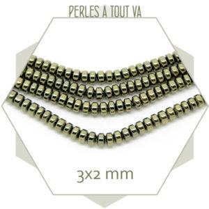 perles heishi hematite doré pyrite