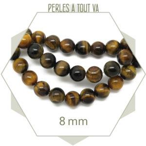perles oeil de tigre 8mm
