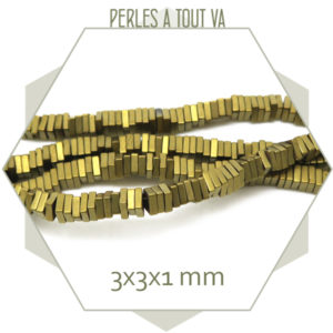 Perles hematite tranche doré