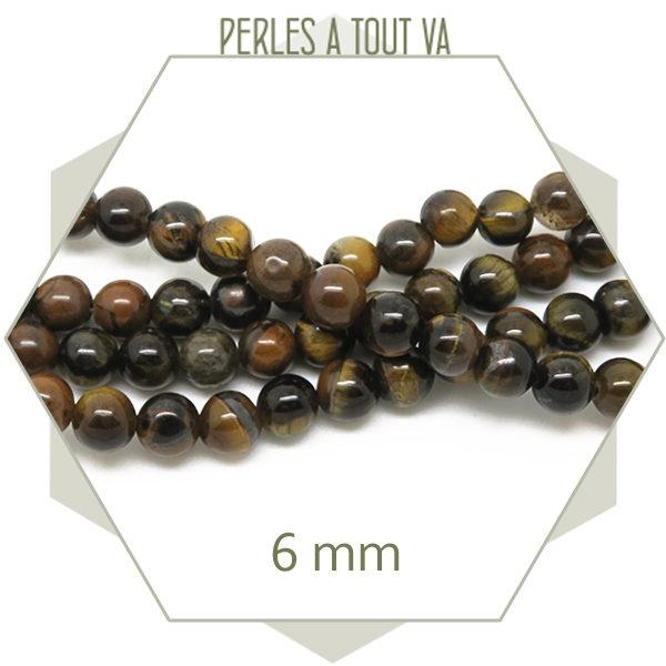 Perles pierre naturelle oeil de tigre