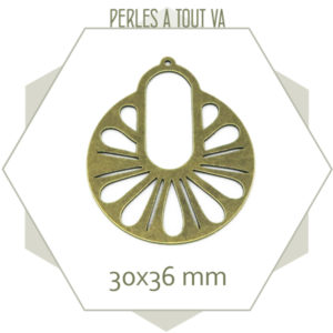 breloque bronze créole paon