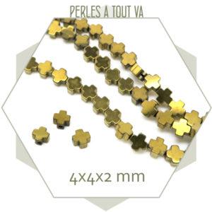 Lot perles croix en hématite