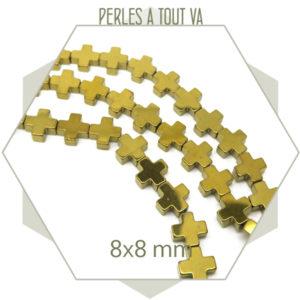 Rang perles croix hématite