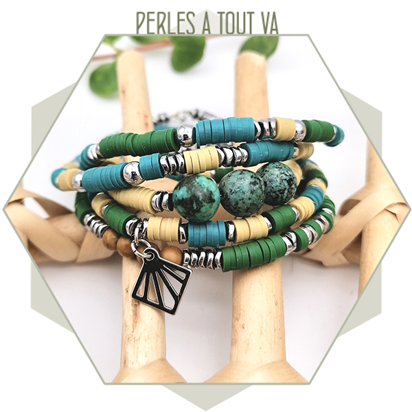 Idée création bracelet perles heishi
