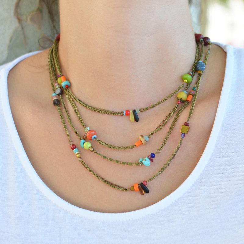 Créer un collier multi rang bronze