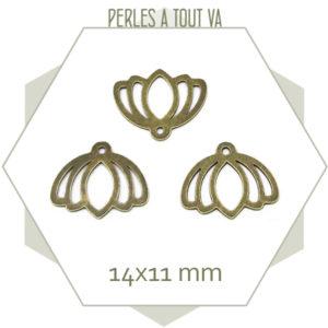 breloque lotus bronze