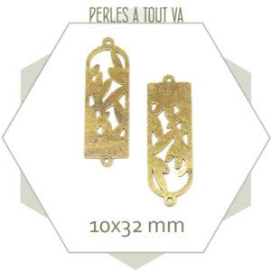 Connecteur motif laurier laiton