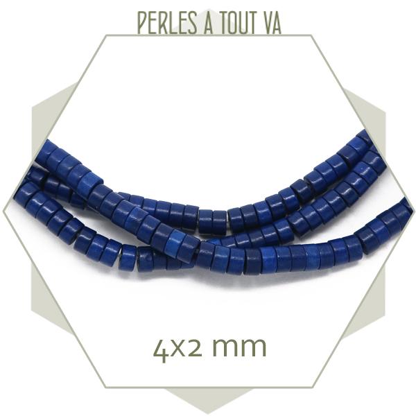 Perles heishi howlite bleu