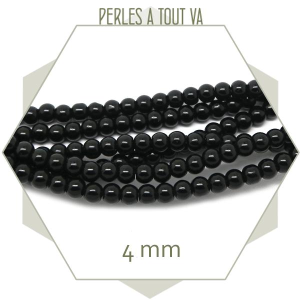 perles rondes verre noir