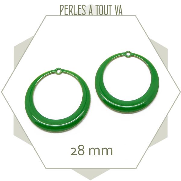 Créoles émaillées vert