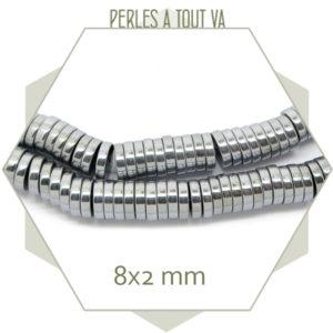 Achat perles rondelles en hématite argent