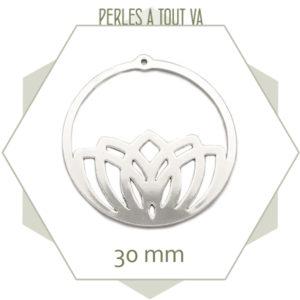 vente breloque ronde lotus