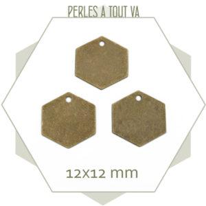 vente breloque hexagone bronze