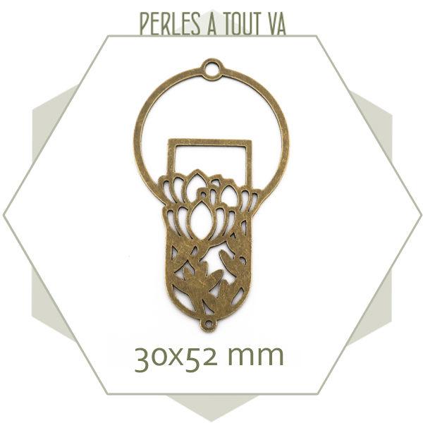 vente pendentif floral bronze