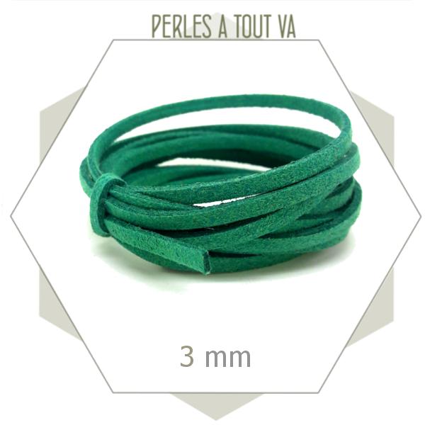 fournisseur cordon suédine vert
