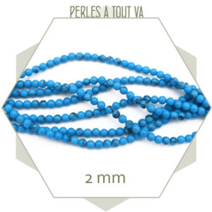 perles howlite turquoise 2mm