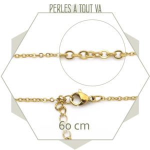 grossiste collier acier dore