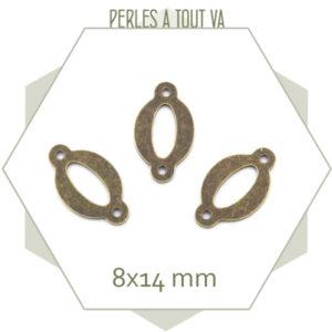 connecteur ovale ajouré bronze