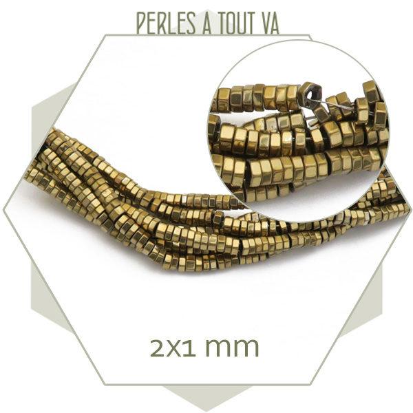 perles hématite boulon dorée