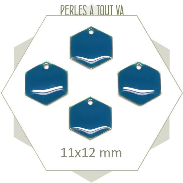 Achat sequins émaillés hexagones bleu