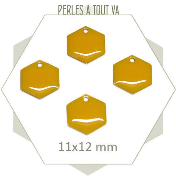 Achat sequins émaillés hexagones jaune moutarde