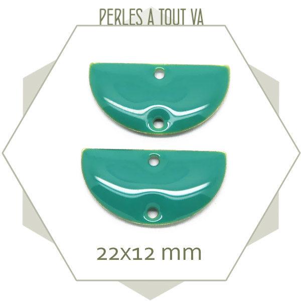 sequins émaillés demi-cercle turquoise