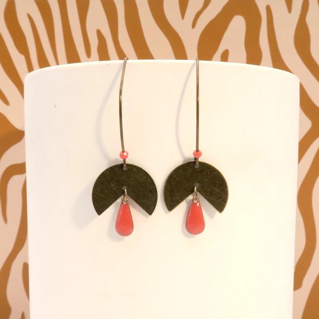 Boucles d'oreilles bronze et rose
