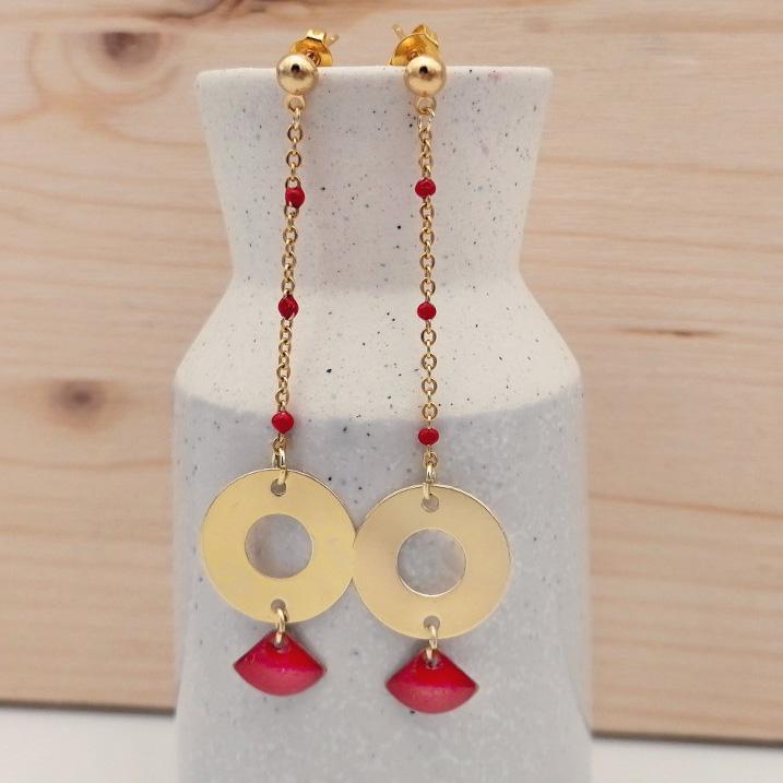 Boucles d'oreilles chaîne acier doré