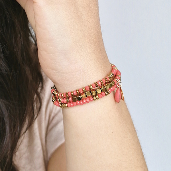 bracelet perles rodhonite