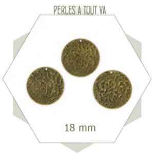 Vente breloque ronde texturée bronze