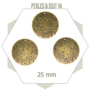 Breloque connecteur bronze texturée