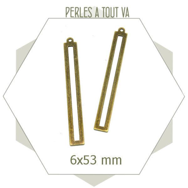 vente breloque rectangle bronze