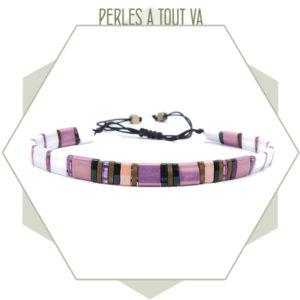 création bracelet tila mauve