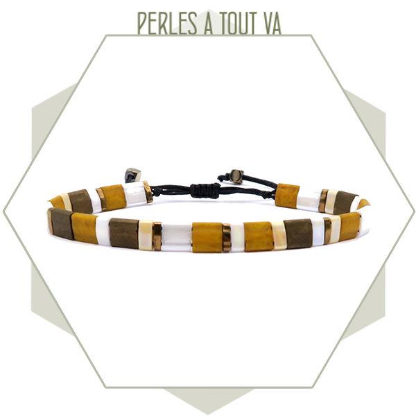 création bracelet tila ocre