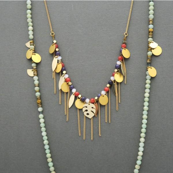 sautoir en perles de jade teinté